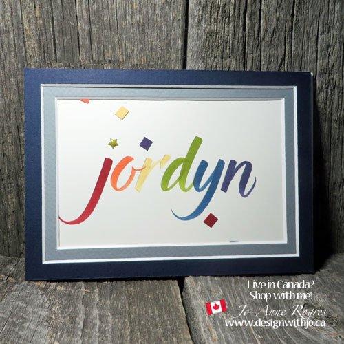 DIY framed names brush marker lettering