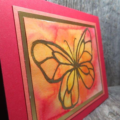 brusho watercolour emboss resist card