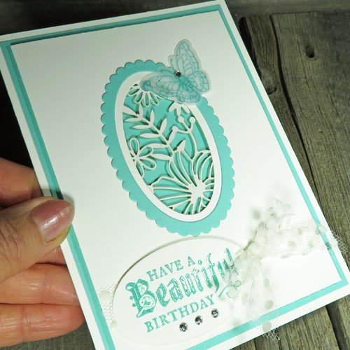 Card making with Stampin Up Delightfully Detailed Laser Cut Paper