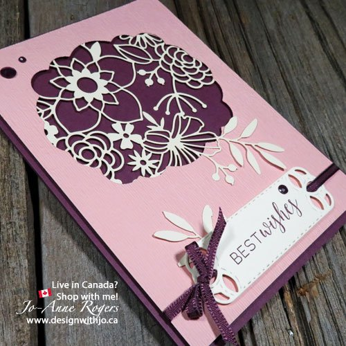 quick and easy cardmaking with Stampin Up Delightfully Detailed laser cut paper