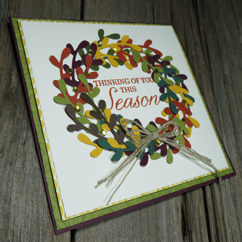 make a fall wreath card with the FAB Sprig punch