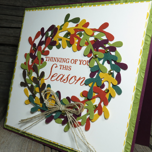 I LOVE using my new Sprig punch to make a fall wreath card
