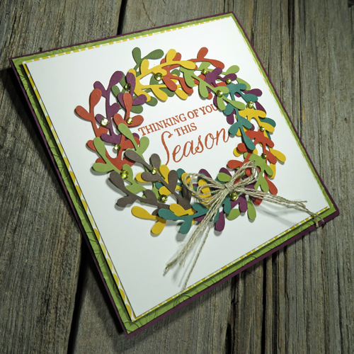The AWESOME Sprig punch will make a fall wreath card