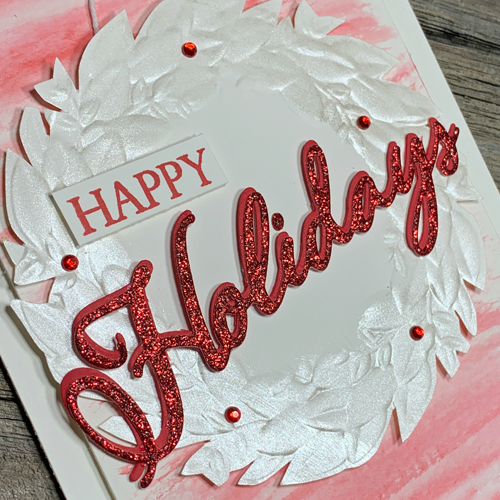 I LOVE this Seasonal Wreath Card Idea Using Frost White Shimmer Paint