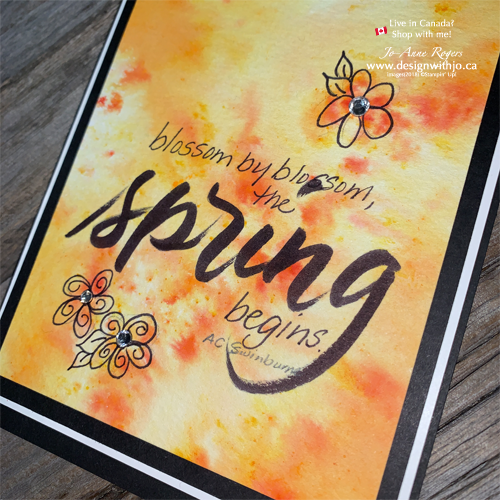 Brush Letter on Brusho Crystal Colour Backgrounds for Lovely Spring Cards