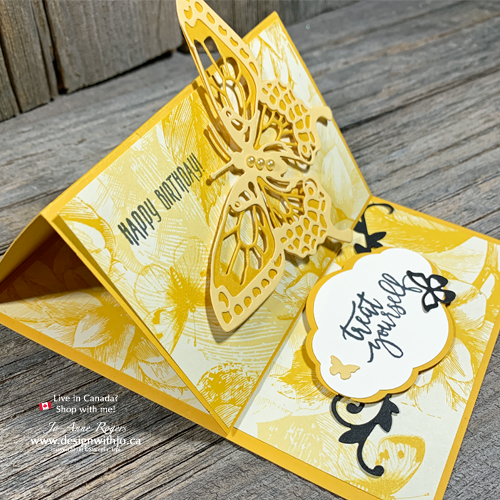 All the steps for this QUICK & EASY Easel Card with Butterfly Cutout
