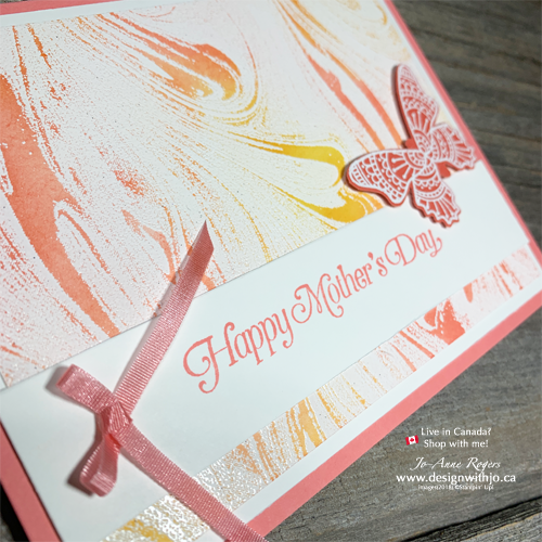 Emboss Resist Stamping Technique with Marbled Background and Butterfly Gala Stamps for Mom
