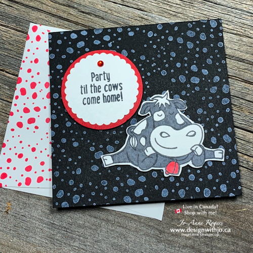 Step-by-Step for how to fussy cut an easy birthday card with the udderly adorable Over the Moon stamp set from Stampin' Up!