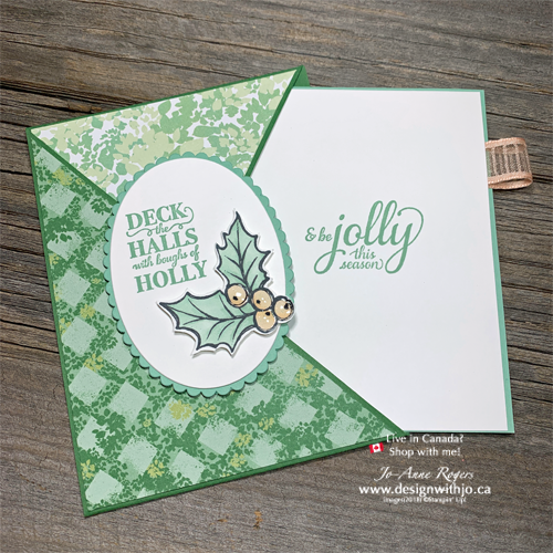 A Pretty Diagonal Crossover Fold Card for Christmas Using Brightly Gleaming Stamps