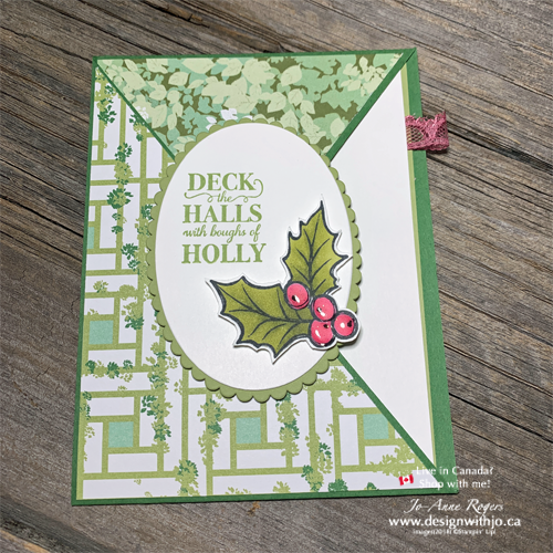 NON-Holiday DSP for this Diagonal Crossover Fold Card for Christmas? Absolutely!