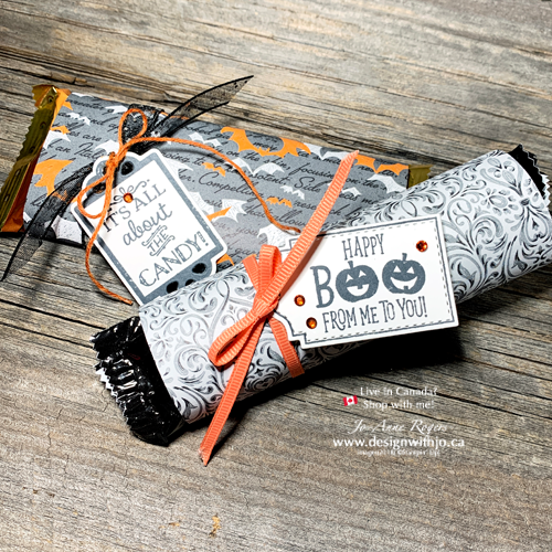 Running out of Time? Try these FAST Wrapped Candy Bar Halloween Treatholders from Patterned Paper and the Trio of Tags from Stampin Up!