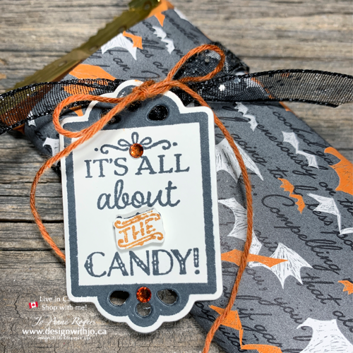 Need FAST Wrapped Candy Bar Halloween Treatholders Ideas? This one with Trio of Tags is Ultra Quick