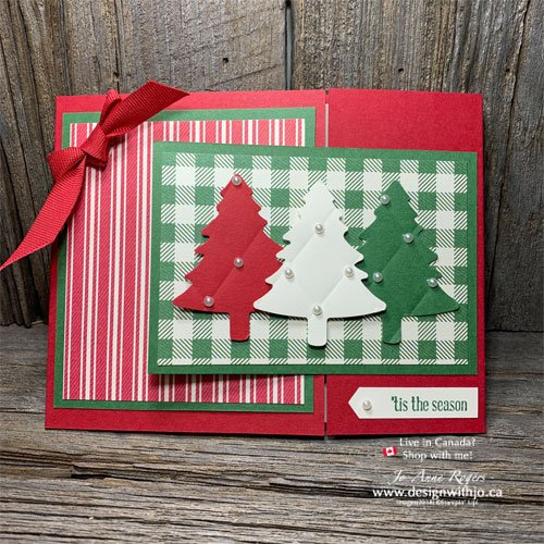 So SWEET Flap Fold Card Christmas Tree Card with Toile Tidings DSP and the Pine Tree Punch from Stampin Up!