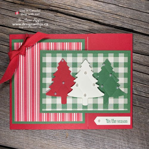 EASY Flap Fold Card Christmas Tree Card to Make with Your Pine Tree Punch and Tufted 3D Embossing Folder from Stampin Up!