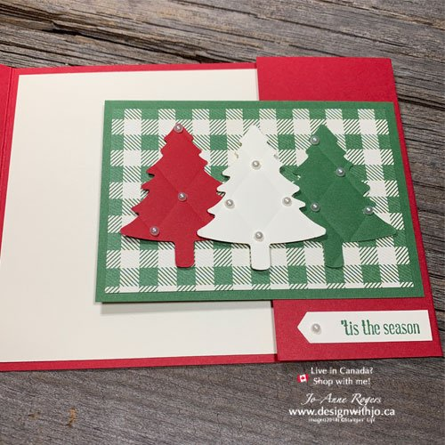 Make This Country-ish Flap Fold Card Christmas Tree Card with your Tufted Embossing Folder and Pine Tree Punch