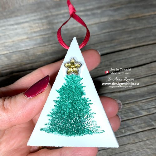 Make a Mini Christmas Tree Table Favour or Tree Decoration with my Template and your Perfectly Plaid stamps