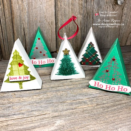 VIDEO and Template to Make a Mini Christmas Tree Table Favour with your Perfectly Plaid stamps