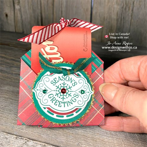 I LOVE this 3D Gift Card Holder to Make at Home with Wrapped In Plaid DSP and the Tags Tags Tags Bundle