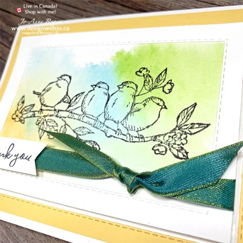 I LOVE this Watercolour Thank You Note with Free as a Bird Stamps and Stitched Rectangle Dies