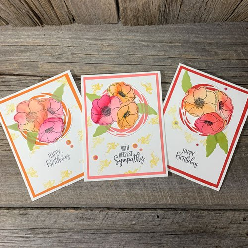 Watercolour Rubber Stamped Poppies for Awesome Designs