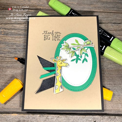 I LOVE my Blends for this Cute Hand Stamped Giraffe Card with Animal Outing from Stampin Up!