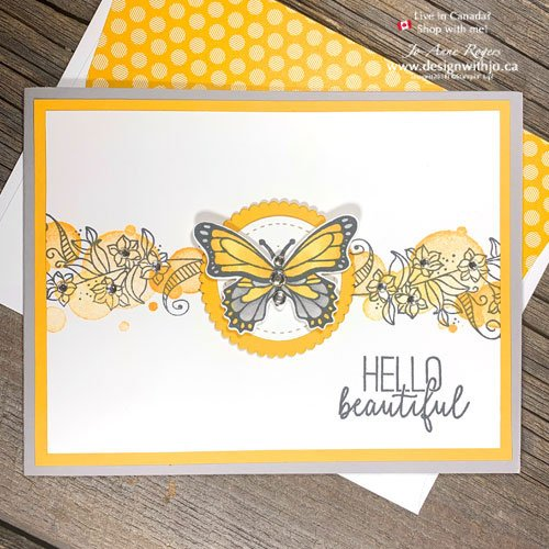 Handmade Rubber Stamped Butterfly Card